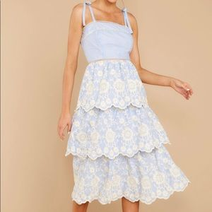 See It Go Light Blue Eyelet Midi Dress